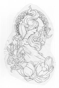 nouveau Tattoo | Art Nouveau // Taylor Henze Tattoo | Alexandra Doffing