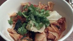 Feb 20: homemade pasta with red sauce kale, sausage crumbles, and basil