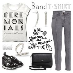 """I'm With the Band"" by littlehjewelry ❤ liked on Polyvore featuring Fendi, Tory Burch, bandtshirt, contestentry, bandtee, pearljewelry and littlehjewelry"