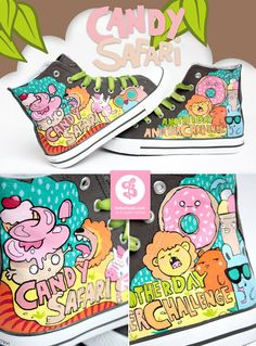 hand painted shoes - - Candy Safari by =Bobsmade