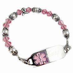 Medical Alert Bracelets and stylish jewelry custom engraved for men, women, children - Ribbon Of Hope Medical ID Bracelet