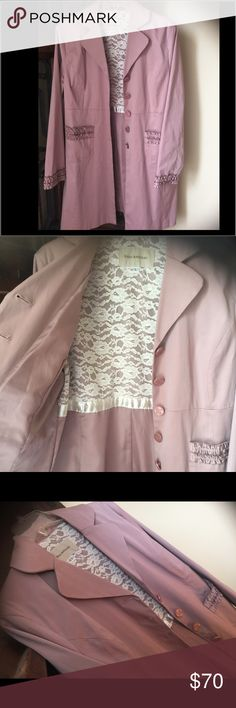 Enzo Angioloni Dusty Rose Coat, LG, Vintage look NWOT Pale Pink Enzo Coat. 🍂This beautiful coat has pretty buttons & unique details throughout. It has lace on the lining and ruffles at the bottom of sleeves. It has a vintage look & very feminine looking. Looks much better in person! Shell: 54% cotton, 42% Polyester, 4% Spandex. Lining: 100% Poly. Upper Back body: 100% Nylon. Never been worn. All purchases over $50 get a gift as a thank you token! I do bundles!!  Please feel free to ask any…