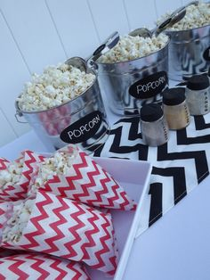 Popcorn Bar Red Black & White Chevron Mini Party in a by LKDevents Popcorn Bar Party, Popcorn Bags, Got Party, Party In A Box, Outdoor Sweet 16, White Popcorn, Popcorn Bucket, Red Black, Black And White