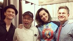 "Katy Perry in ""The Fabulous Mary in Las Vegas"" sweater by RYAN HOUSSARI Fall 2014  #katyperry #thefabulousmaryinlasvegas #ryanhoussari #fall2014 #print #blue #neoprene #sweater #neilpatrickharris #Montreal"
