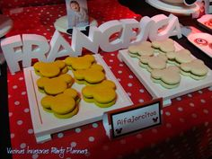 Macarons at a Minnie Mouse birthday party! See more party ideas at CatchMyParty.com!