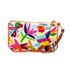 "The wristlet is big on color small on bulk; a savvy application of Otomi needlework in 100% cotton. Swinging lightly from the wrist, the bag is that pop of color every outfit craves. The detachable leather strap adds style and options. 8"" long x 5.2"" high 6"" leather strap --"