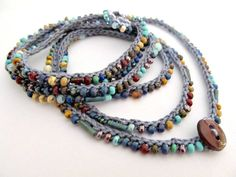 """Crochet beaded bracelet, wrap bracelet, """"little stones"""", aqua, brown, boho necklace, bohemian jewelry, crochet jewelry, fall fashion"""