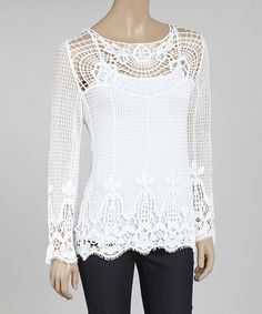 Look at this #zulilyfind! Ivory Open-Weave Crochet Top #zulilyfinds