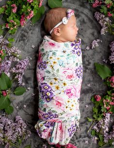 Floral Swaddle set / newborn swaddle blanket set /  summer swaddle / breastfeeding cover / nursing cover floral / thin baby headband