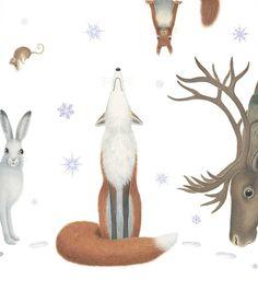 Eva Melhuish Winter Illustration, Christmas Illustration, Illustration Art, Woodland Christmas, Noel Christmas, Xmas, Animal Doodles, Winter Magic, Fox Art