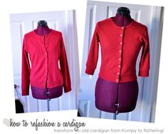 Cardigan sweater refashion tutorial on Elegant Musings  (Updated link)