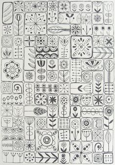 Fun Floral Zentangle Doodle Page Tangle Doodle, Doodles Zentangles, Zen Doodle, Doodle Art, Doodle Tattoo, Doodle Patterns, Zentangle Patterns, Embroidery Patterns, Embroidery Sampler