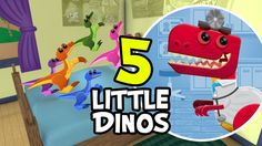 5 Little Monkeys Jumping on the Bed (Official Dinosaur Re-mix) | Nursery...
