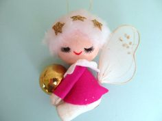 Vintage 1960s Pink Angel Christmas Ornament by annegraham on Etsy, $8.00