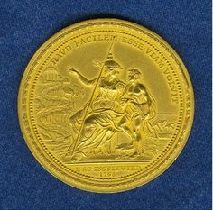 Robert Ball Hughes received a Gold Medal from the Royal Academy on December 10, 1823. Reverse - The Gold Medal is dated 1768 on the reverse side, the year that the Royal Academy was founded in London by George III (1738-1820).