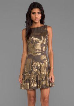 Anna Sui Klimt Print Burnout Metallic Stripe Velvet and Metallic Chiffon Clip Jacquard Tank Dress in Gold Multi from REVOLVEclothing.com