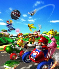 A massive selection of official artwork for the Gamecube's installment of the Mario Kart series: Mario Kart: Double Dash. Images included in this gallery are various karts, items plus group and supporting artwork shots. Mundo Super Mario, New Super Mario Bros, Super Mario Art, Super Mario World, Super Smash Bros, Donkey Kong, Geeks, Yoshi, Mario Kart Games