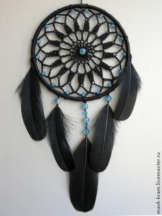 Ловец снов Мистический - чёрный,перья,перья птиц,ловец снов,ловушка для снов
