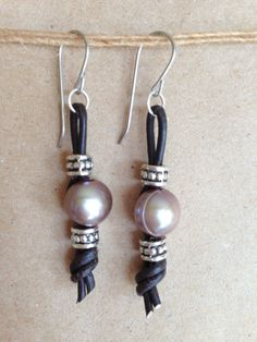 Freshwater Pearl Earrings Knotted Leather by bitsajewelrydesign, $10.00
