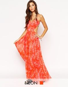 ASOS Neon Print Pleated Maxi Beach Dress