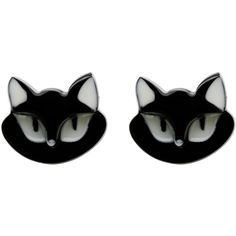 Erstwilder Black Carla Cat Resin Post Earrings (120 VEF) ❤ liked on Polyvore featuring jewelry, earrings, accessories, black, cat, black cat earrings, black cat jewelry, resin jewelry, black jewelry and cat earrings