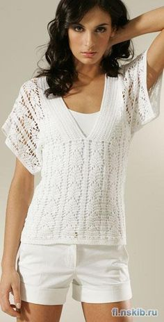 CROCHET AND TRICOT INSPIRATION: http://pinterest.com/gigibrazil/crochet-and-knitting-lovers/ - White crochet sweater with wide sleeves and V-neck