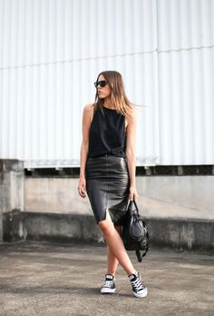 Classic Converse + lush leather skirt = perfection.