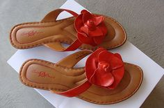 Born sandals to wear with red floral dress.