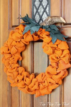 The Easiest Fall Burlap Wreath - 40 Homemade Fall Wreaths to Make for Your Front Door - Big DIY IDeas