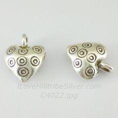 1x Thai Karen Hill Tribe Silver Oxidized Heart 2-Sided Puffed