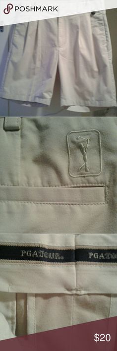 PGA Tour Golf Double Pleat Shorts Light beige golf shorts. Gently worn. I have washed and ironed them and ready to ship. Lovely and clean. Zipper and button work perfect. Shorts