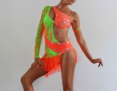 Competition Latin Ballroom Dance dress Salsa shine Show Performance fringe lace dress neon Custom Dance Costumes, Girls Dance Costumes, Dance Costumes Lyrical, Dance Outfits, Costumes For Women, Latin Dance Dresses, Ballroom Dance Dresses, Baile Latino, Salsa Dress