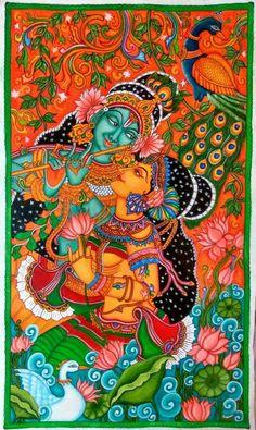 MURAL PAINTING Kerala Mural Painting, Tanjore Painting, Krishna Painting, Krishna Art, Indian Traditional Paintings, Indian Paintings, Indian Artwork, Oil Paintings, Symbolic Art