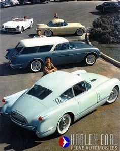 1954 Chevrolet Corvette Concept Cars Covertte Corvair Coupe, Corvette Nomad, Corvette Hardtop, Corvette Roadster