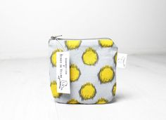 Small Zip pouch Coin purse Lipstick pouch Yellow polka by BoHelina