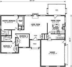 Ranch Style House Plans – 1606 Square Foot Home , 1 Story, 3 Bedroom and 2 Bath, 2 Garage Stalls by Monster House Plans – Plan 20-372