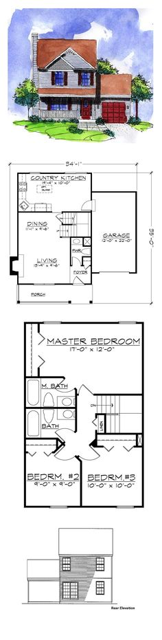 Narrow Lot House Plan 57486 | Total Living Area: 1150 sq. ft., 3 bedrooms and 2.5 bathrooms. #narrowlothome