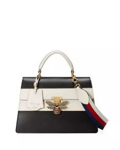 V3KGZ Gucci Linea Striped Bee Top Handle Bag, Black/White