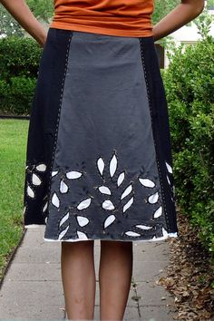 Jersey Skirt from 4 recycled t-shirts.  It was hard to find 4 from my own stash whose colors worked together, but I was determined not to buy any fabric!