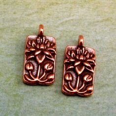 TierraCast Floating Lotus Charm Antique Copper 2 Pc. by FabBeads