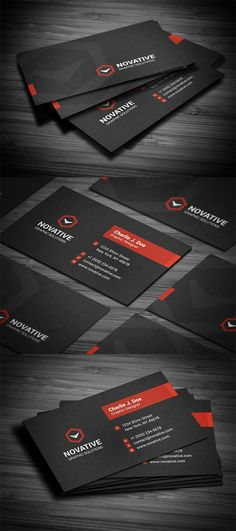 Creative black textured business card template, available for purchasing as PSD file in four different color schemes.