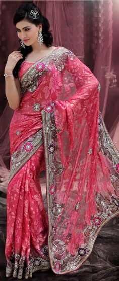 Dusty #Red Brasso Faux #Georgette #Saree With Blouse @ $425.86