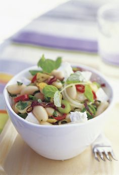 {BEEN THERE DONE THAT} warm salad: beans / feta / tomatoes / red onion / garlic / parsley / lemon / olive oil / chili