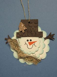 Krafting with Karen: Scallop Circle Snowman Tag Christmas Paper Crafts, Noel Christmas, Christmas Gift Tags, All Things Christmas, Handmade Christmas, Holiday Crafts, Christmas Ornaments, Punch Art Cards, Snowman Cards