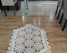 This beautiful romantic small rug is handmade, crochet. Handmade Rugs, Handmade Items, Shabby Chic Lamps, Round Rugs, Beautiful Patterns, Girl Nursery, Small Rugs, Boho Style, Boho Fashion