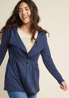 #AdoreWe #ModCloth ModCloth Juneau How I Feel Jacket in Navy in 1X - AdoreWe.com