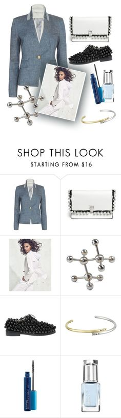 """""""Blue Jacket"""" by grinevagh ❤ liked on Polyvore featuring Veronica Beard, Proenza Schouler, Regina-Andrew Design, Anouki, Elizabeth and James, MAC Cosmetics and Leighton Denny"""
