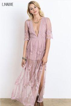 Mauve Lace Maxi Romper Dress