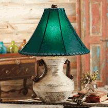 Head to Lone Star Western Decor right now and take discounts up to on rustic lamps, such as this Rio Bianco White Clay Pottery Table Lamp with Rawhide Shade! Rustic Lamps, Rustic Lighting, Home Lighting, Western Lamps, Western Decor, Western Table Decorations, Lamp Makeover, Western Furniture, White Clay