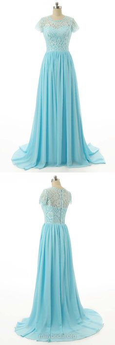 Blue Prom Dresses 2018, Long Prom Dresses A-line, Short Sleeve Prom Dresses Lace, Modest Prom Gowns For Teens